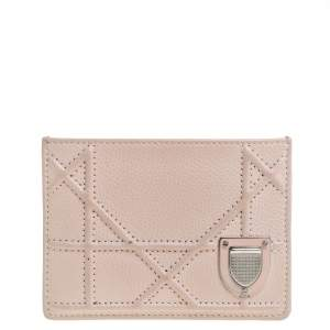Dior Powder Pink Cannage Leather Diorama Card Holder