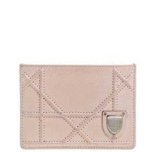 Dior Powder Pink Cannage Leather Diorama Card Holder