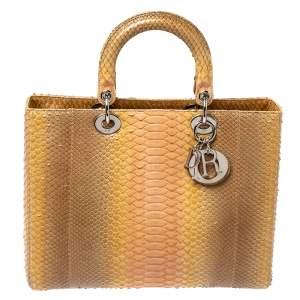 Dior Beige Ombre Python Large Lady Dior Tote