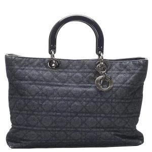 Dior Navy Blue Denim Leather Tote Bag