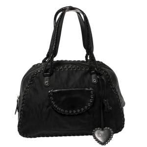 Dior Black Oblique Nylon and Leather Heart Charm Ethnic Shoulder Bag