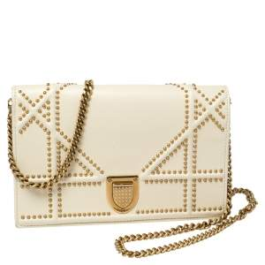 Dior Cream Leather Studded Diorama Wallet on Chain