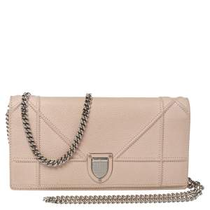 Dior Blush Pink Leather Diorama Wallet On Chain