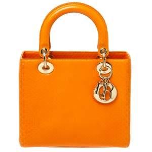 Dior Orange Python Medium Lady Dior Tote