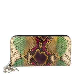 Dior Multicolor Python Zip Around Wallet