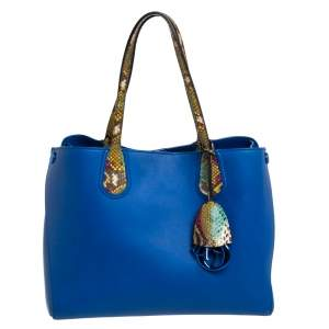 Dior Multicolor Leather and Python Small Dior Addict Shopper Tote