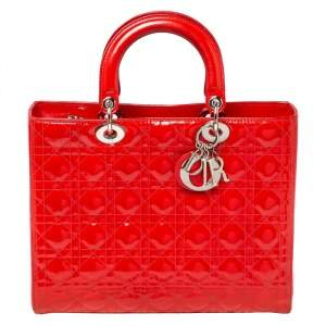 Dior Crimson Red Cannage Patent Leather Large Lady Dior Tote