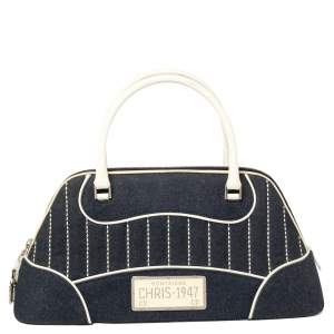Dior Navy Blue/White Denim and Patent Leather Montaigne Chris Satchel