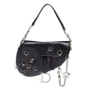 Dior Black Leather Hardcore Piercing Saddle Bag