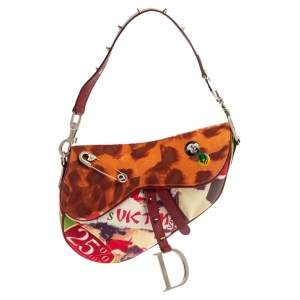 Dior Multicolor Canvas and Leather Limited Edition Victim Saddle Bag