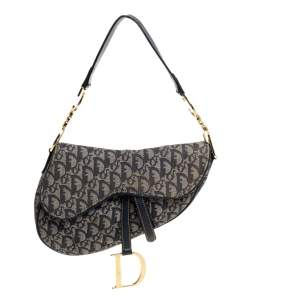 Dior Blue Diorissimo Canvas and Leather Saddle Bag