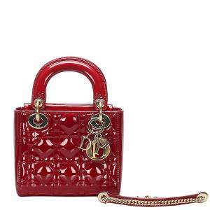 Dior Red Quilted Cannage Patent Leather Lady Dior Bag