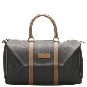 Dior Brown/Beige Honeycomb Leather Travel Bag