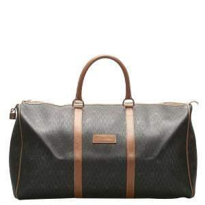 Dior Brown/Beige PVC Leather Honeycomb Travel Bag