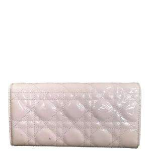 Dior Pink Cannage Patent Leather Lady Dior Wallet On Chain Bag
