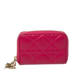 Dior Fuchsia Cannage Leather Compact Zip Around Wallet