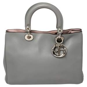 Dior Grey Leather Medium Diorissimo Shopper Tote