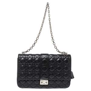 Dior Black Cannage Leather Large Miss Dior Flap Bag