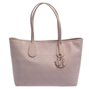 Dior Pink Cannage Coated Canvas Small New Panarea Shopper Tote