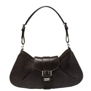 Dior Dark Brown Snakeskin Buckle Flap Hobo