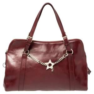 Dior Maroon Leather Star Chain Link Satchel