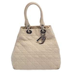 Dior Beige Cannage Quilted Leather Soft Lady Dior Tote