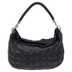 Dior Black Cannage Leather Whipstitch Hobo