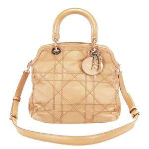 Dior Beige Cannage Leather Granville Bag