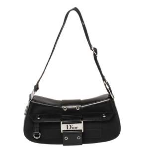 Dior Black Leather And Canvas Street Chic Shoulder Bag