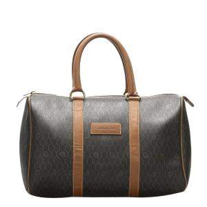 Dior Brown/Dark Brown Honeycomb Canvas Boston Bag