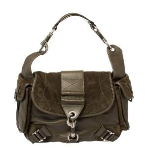 Dior Green Suede And Leather Rebelle Hobo