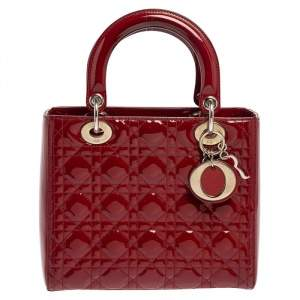 Dior Red Cannage Quilted Patent Leather Medium Lady Dior Tote