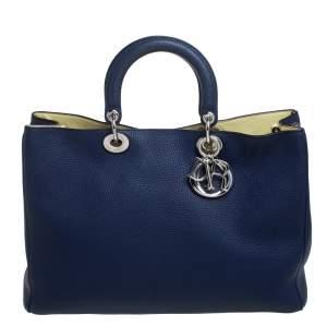 Dior Blue Grained Leather Large Diorissimo Shopper Tote