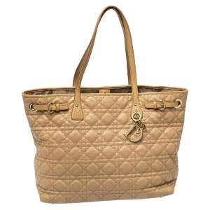 Dior Beige Cannage Coated Canvas and Leather Medium Panarea Tote