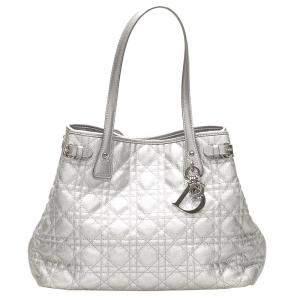 Dior Silver Cannage Panarea Coated Canvas Tote Bag