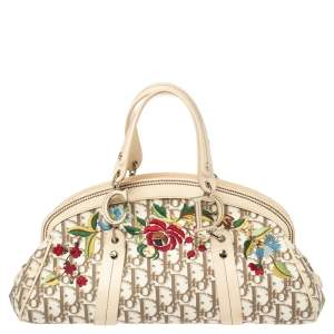 Dior Ivory/Brown Diorissimo Canvas and Leather Floral Embroidered Trotter Satchel