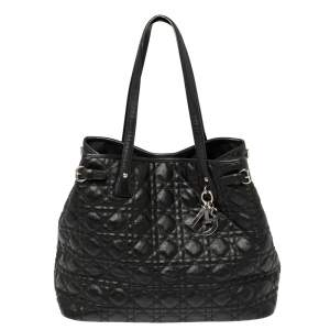 Dior Black Cannage Coated Canvas Panarea Tote