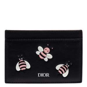 Dior x Kaws Black Leather Pink Bees Cardholder