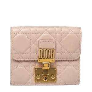 Dior Powder Pink Cannage Leather Dioraddict French Wallet