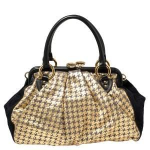 Marc Jacobs Black/Gold Houndstooth Print Leather and Calfhair Stam Embellished Shoulder Bag