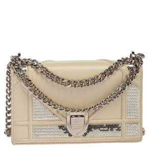 Dior Off White Leather and Sequin Mini Diorama Shoulder Bag