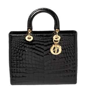 """حقيبة يد ديور """"ليدي ديور"""" كبيرة جلد تمساح لامع أسود"""