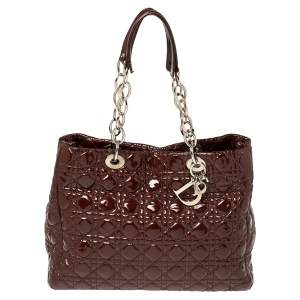 Dior Burgundy Cannage Patent Leather Large Shopping Tote