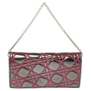 Dior Metallic Grey/Pink Cannage Leather Chain Wallet