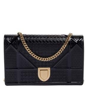 Dior Navy Blue Micro Cannage Patent Leather Mini Diorama Chain Shoulder Bag