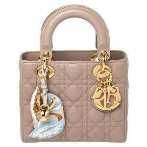 Dior Beige Leather Small My Lady Dior Tote