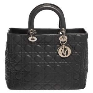 Dior Dark Grey Cannage Leather Large Lady Dior Tote