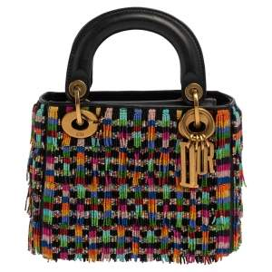 Dior Multicolor Leather Mini Beaded Fringe Lady Dior Tote