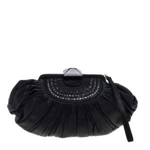 حقيبة كلتش ديور إطار جلد طية سوداء