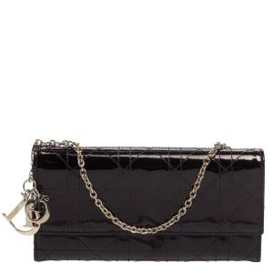 Dior Burgundy Cannage Patent Leather Lady Dior Wallet on Chain